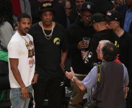 Jay-Z and Michael B. Jordan at the Lakers game