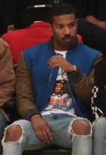 Michael B. Jordan at the Lakers game