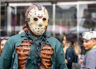 Male Cosplayer Dressed as a Decomposed Jason Voorhees.