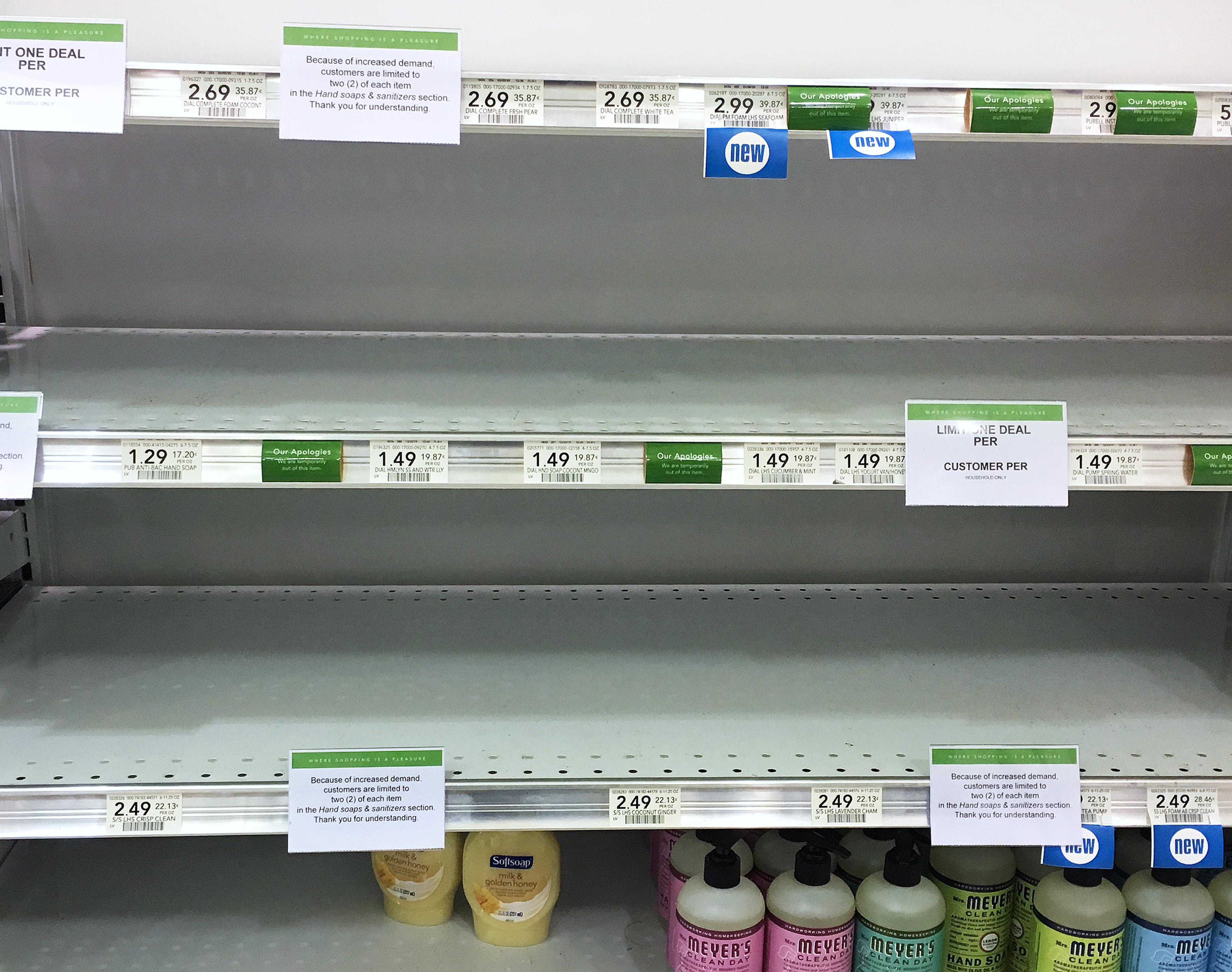 Publix supermarkets empty