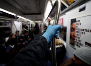 Coronavirus precautions at the New York City subway