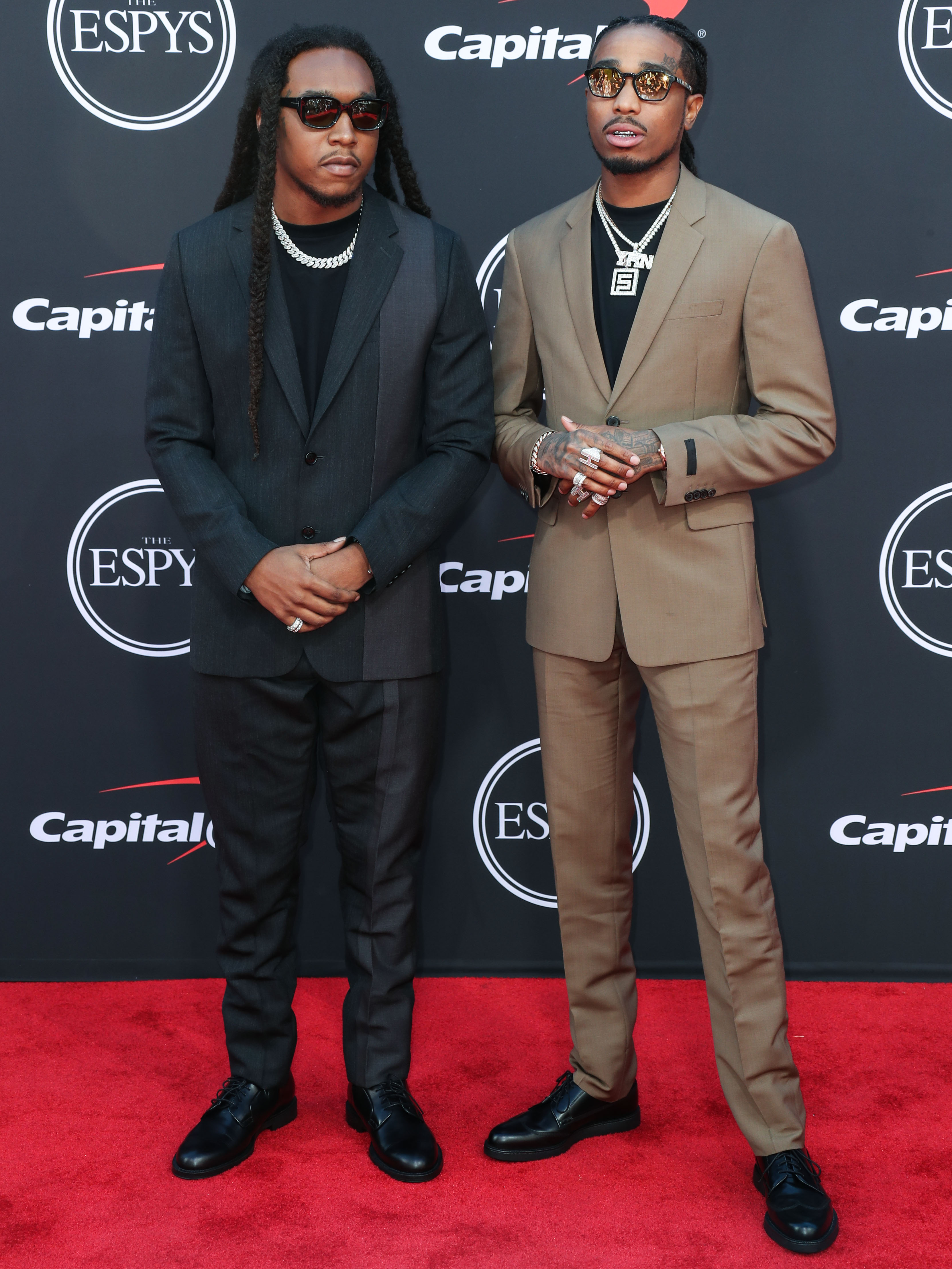 Takeoff and Quavo of Migos arrive at the 2019 ESPY Awards held at Microsoft Theater L.A. Live on July 10, 2019 in Los Angeles, California, United States. (Photo by Xavier Collin/Image Press Agency)
