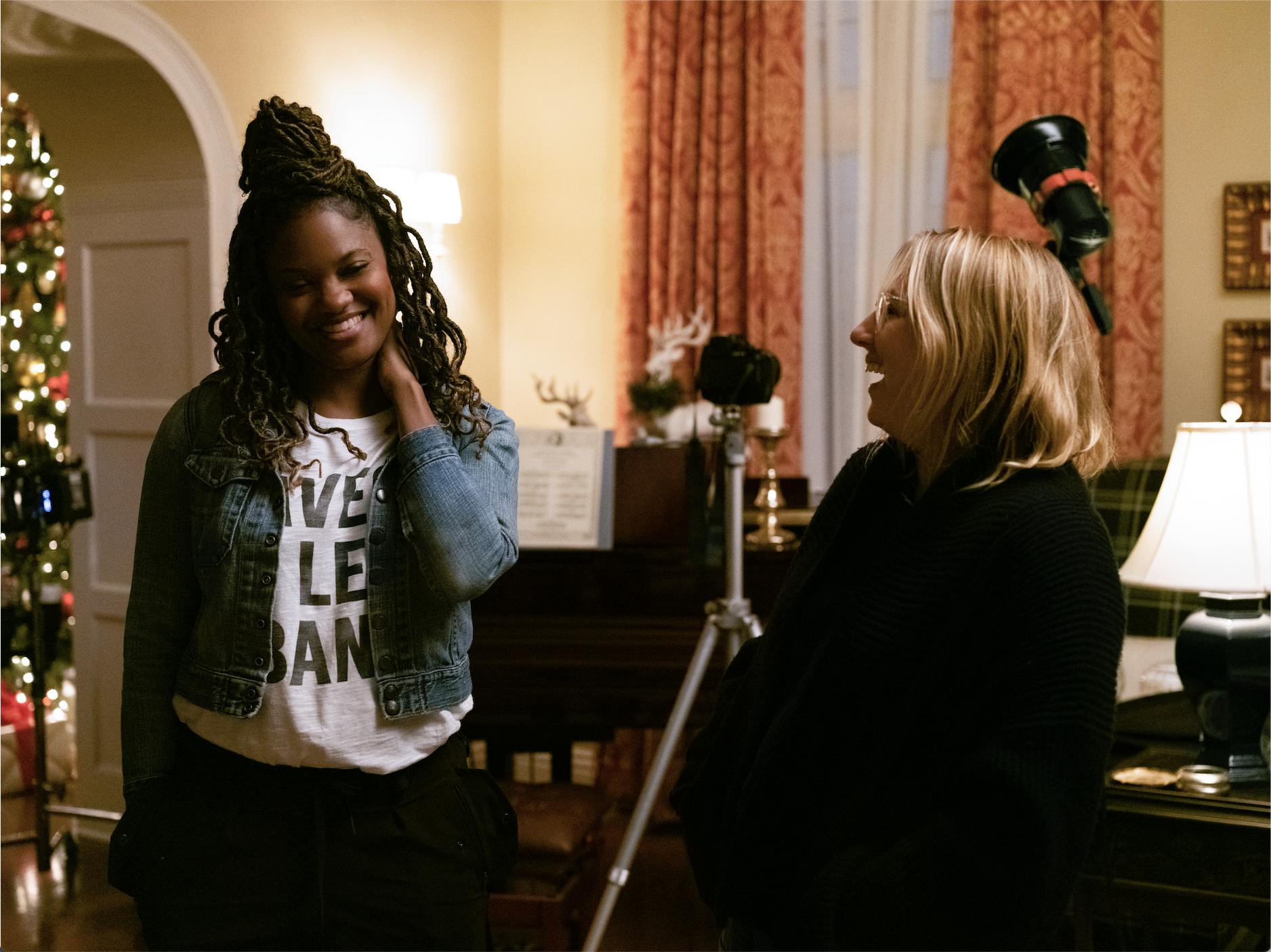 "Nzingha Stewart on the set of ""Little Fires Everywhere"""
