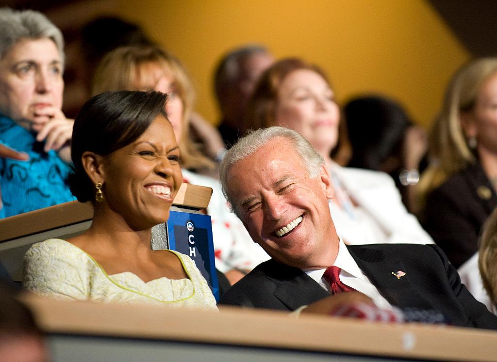 USA - 2008 Presidential Election - Michelle Obama and Senator Biden at the DNC