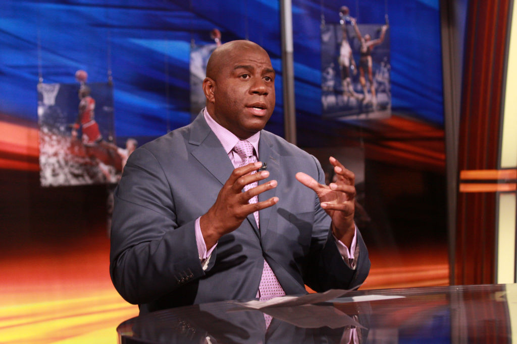 "ESPN on air talent member Earvin ""Magic"" Johnson Jr is shown working on the NBA studio set in Bristol, Connecticut.."