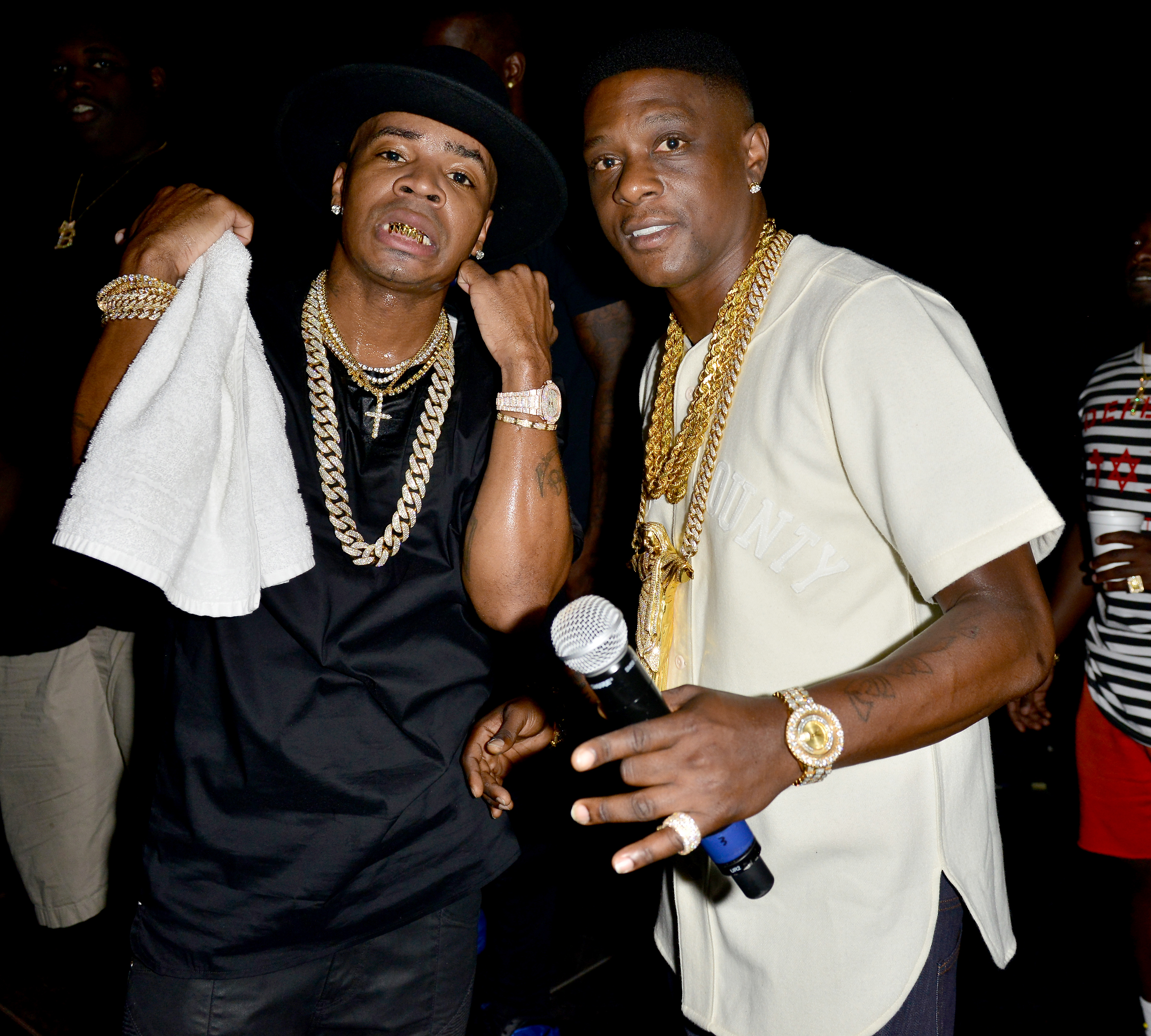 Lil' Boosie and Plies Kings backstage during the Kings of the Streets Tour at the James L. Knight Center