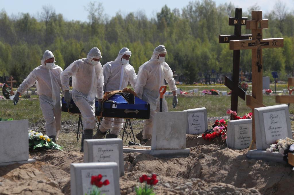 Funeral of deceased COVID-19 patients in St Petersburg, Russia