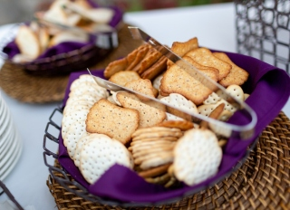 Assorted cracker appetizer in basket