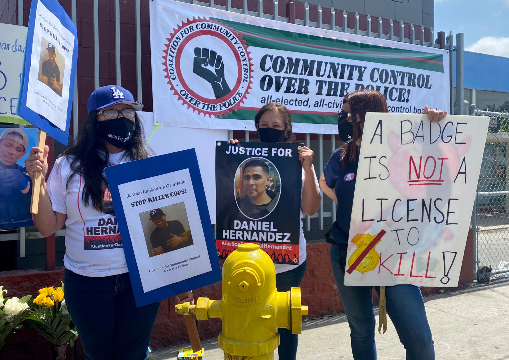 Family of Andres Guardado, who was fatally shot by LA County holds a press conference in Gardena, California.