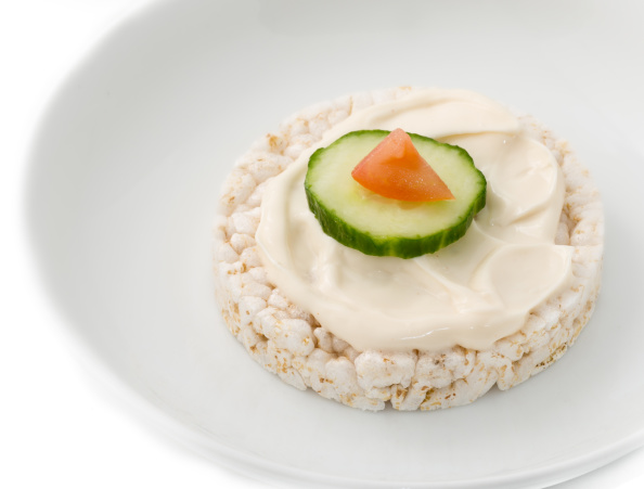 Original or classic rice cake spread with mayonnaise and...