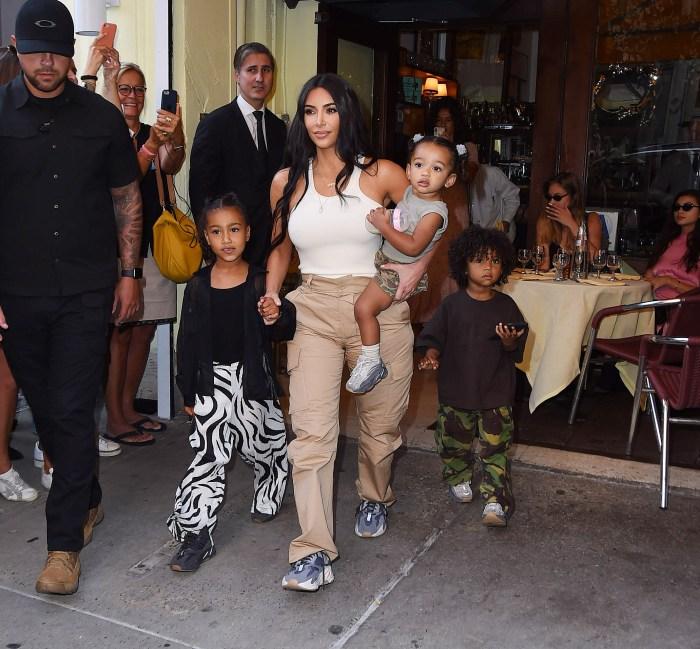 Kim Kardashian West Kanye West North Saint and Chicago West