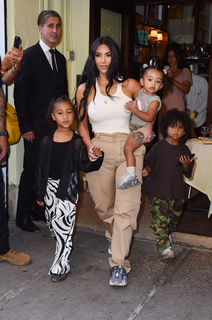 Kim Kardashian West Kanye West North Saint and Chicago West