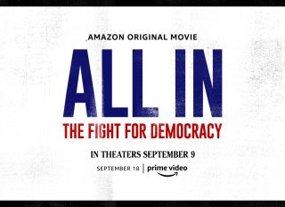 """Key Art for Amazon Studios documentary """"All In: The Fight For Democracy"""" featuring Stacey Abrams"""