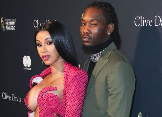 Cardi B and Offset arrive at The Recording Academy And Clive Davis' 2020 Pre-GRAMMY Gala held at The Beverly Hilton Hotel on January 25, 2020 in Beverly Hills, Los Angeles, California, United States.