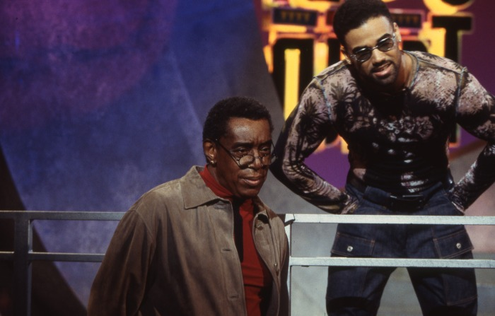 Soul Train Host Shemar Moore and Don Cornelius between takes on Soul Train.