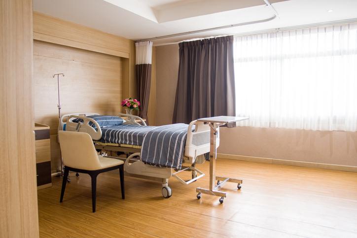 Patient's room is empty, no patient
