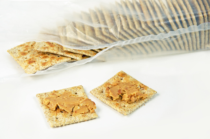Crackers Opened with Peanut Butter