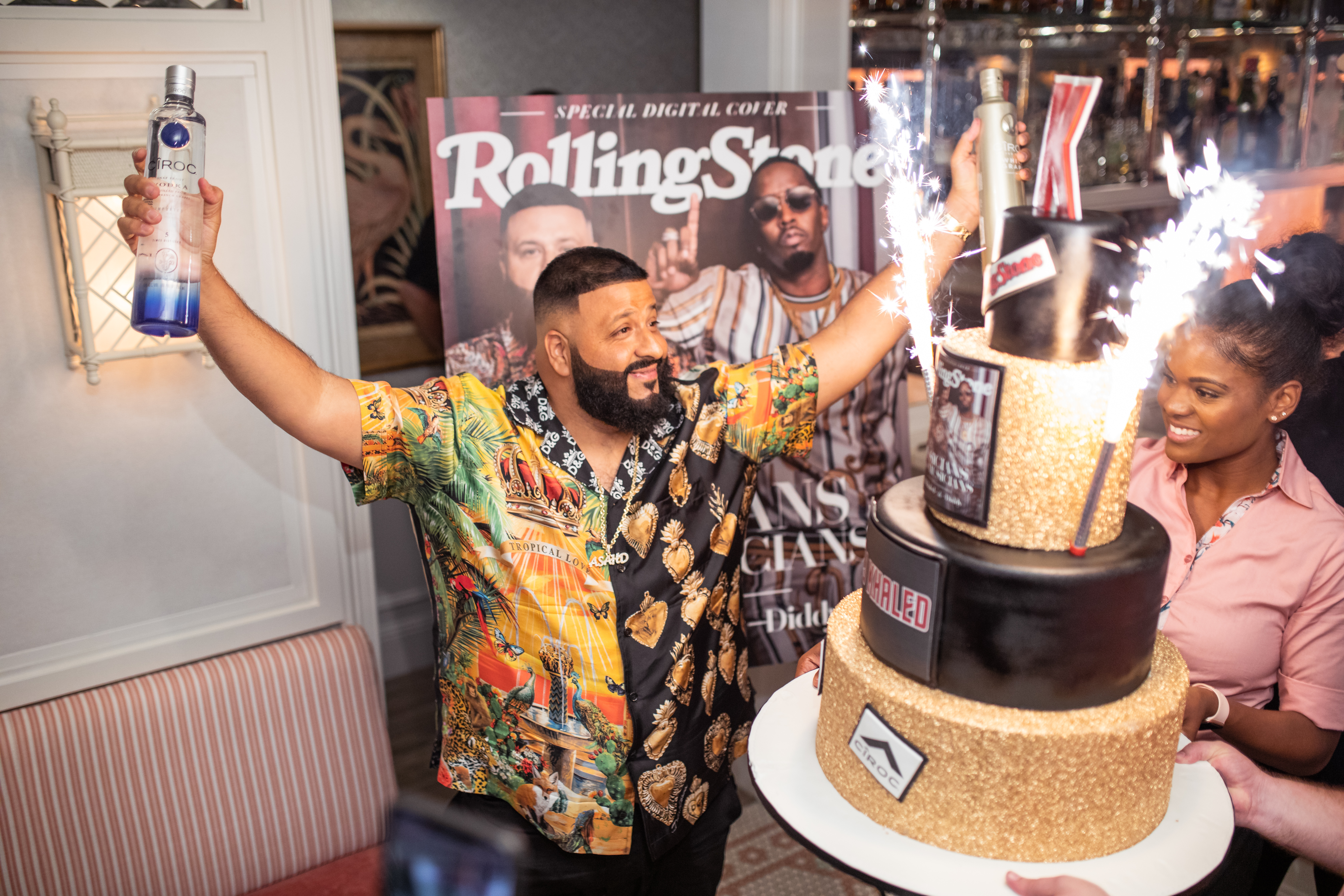 Diddy and DJ Khaled Rolling Stone cover celebration dinner