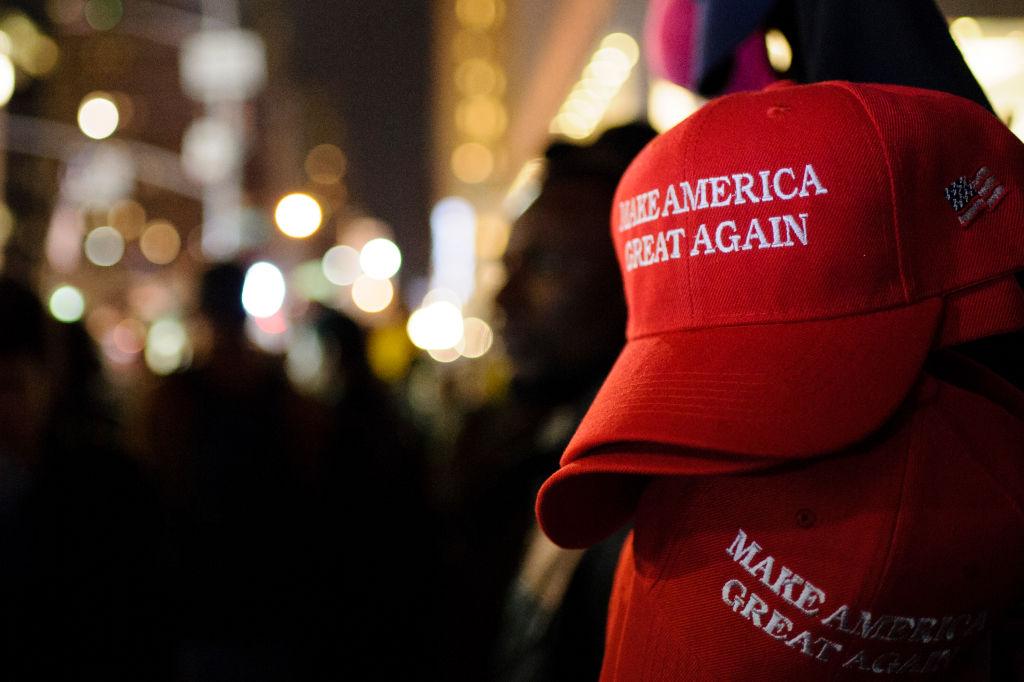 """""""Make America Great Again"""" red baseball caps, signature..."""