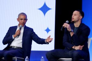 """Barack Obama and Golden State Warriors Stephen Curry at My Brother""""u2019s Keeper Alliance Summit"""