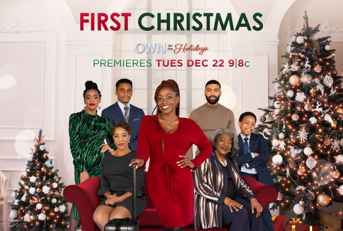 "Key Art and Production Stills for OWN holiday movie ""First Christmas"" starring Idara Victor"