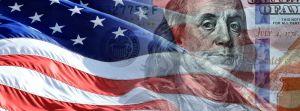 American dollar and American flag