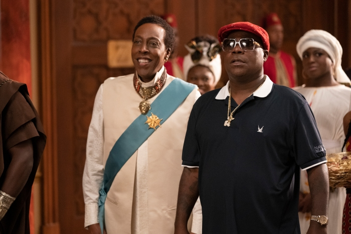 Arsenio Hall and Tracy Morgan in Coming 2 America Poster and Production Stills