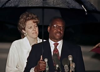 Justice Clarence Thomas News Conference At His Home