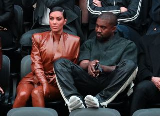 Kanye West and Kim Kardashian front row at Balenciaga