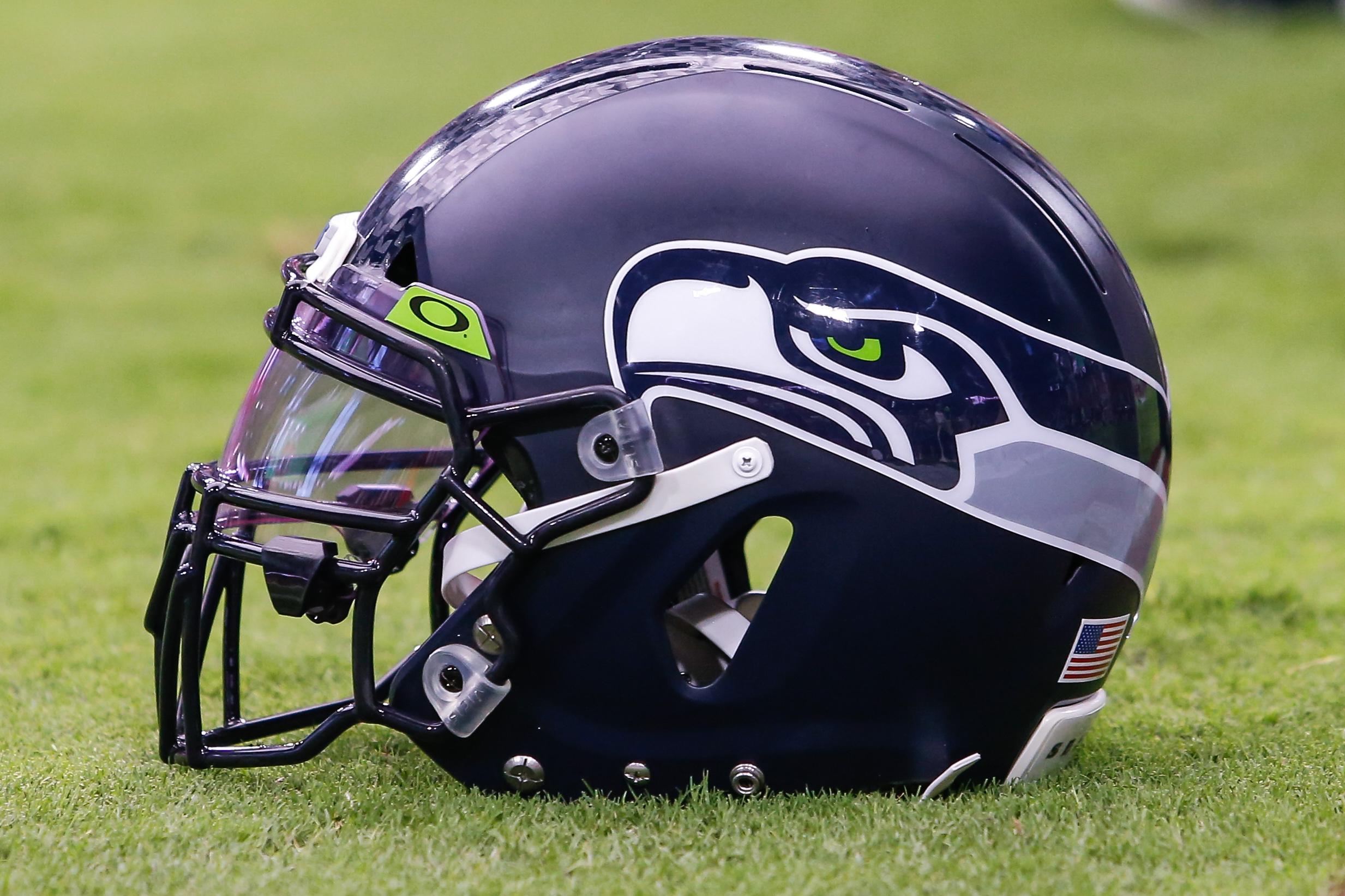Seahawks helmet on the field