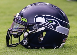 Seahawks helmet on the field