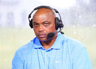 Charles Barkley commentates from the booth during The Match: Champions For Charity