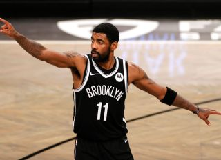 Kyrie Irving During The Atlanta Hawks v Brooklyn Nets
