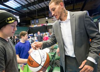 Delonte West With Fans At Dr. Pepper Area In 2015