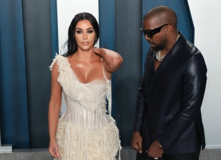Kim and Kanye at the 2020 Vanity Fair Oscar Party