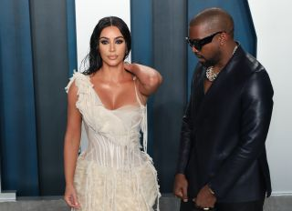 Kim and Kanye at the 2020 Vanity Fair Oscar Party