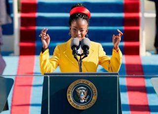 Amanda Gorman reads a poem at the 59th Presidential Inauguration