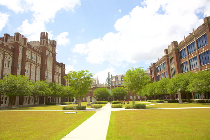 Pedestrian walkway and academic quad at Loyola University New Orleans