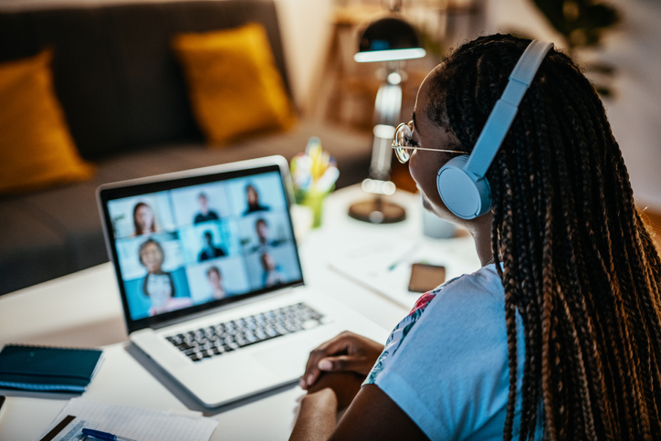 Group of unrecognisable international students having online meeting