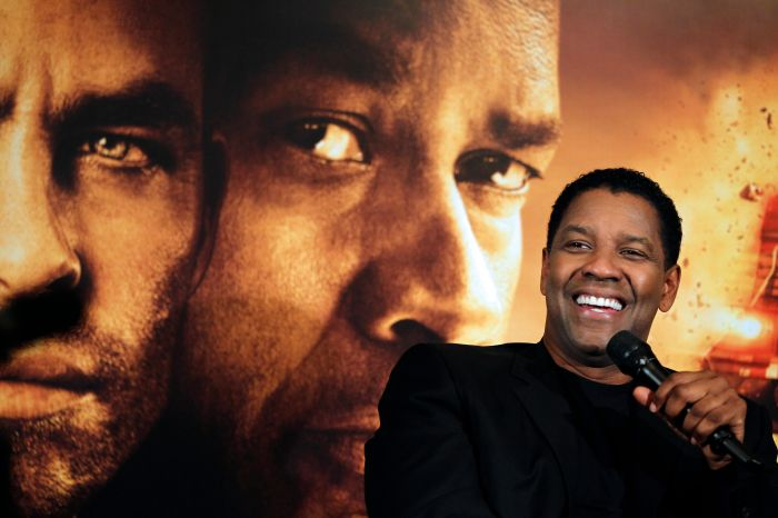 US actor Denzel Washington gives a press