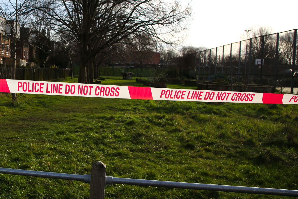 Police tape seen at a crime scene in London...