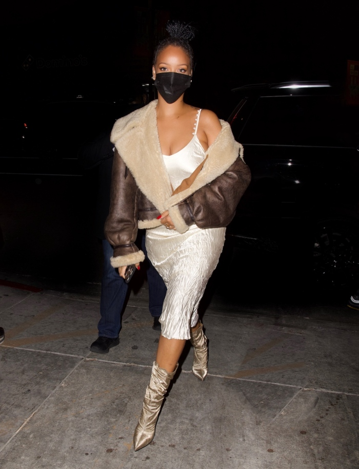 Rihanna wore a cream colored slip dress and natural colored booties for dinner out in Los Angeles