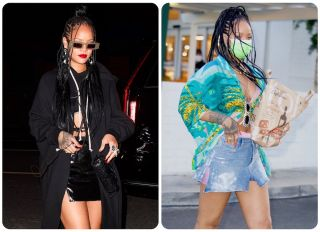 Rihanna wears all black for a night out at Giorgio Baldi and a turquoise print top to the grocery store