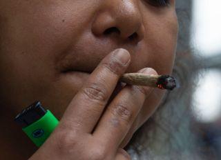 Women smoking marijuana