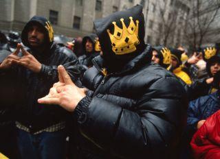 Latin King gang members rally in solidarity with their leader Luis Felipe during his trial