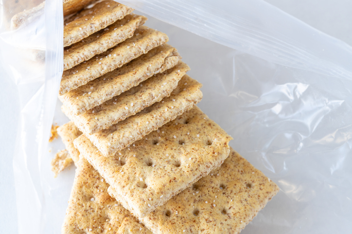 Soda crackers on an opened pack