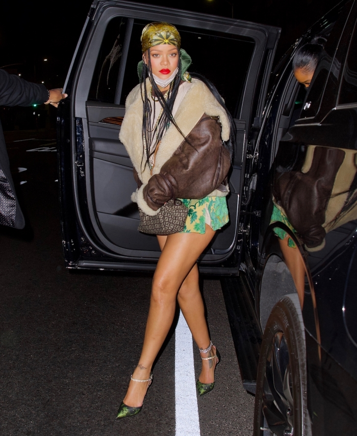 Rihanna hits The Nice Guy with a friend wearing a short skirt and green scarf