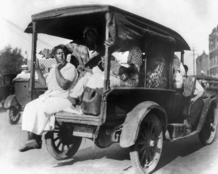 Rear View of Truck carrying African Americans during Riot, Tulsa, Oklahoma, USA, Alvin C. Krupnick Co., 1921