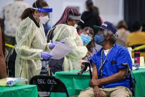 Out of state nurses working in Southern California at vaccination sites.