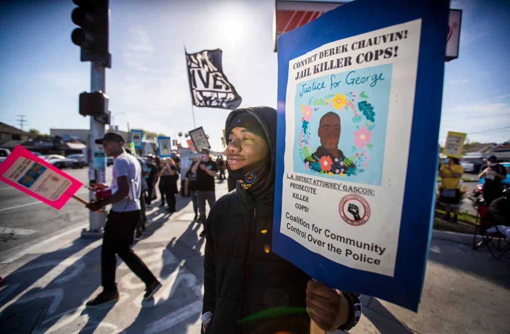 Demonstrators celebrate Chauvin verdict in Los Angeles